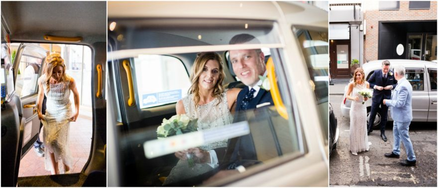 Bride & groom travelling to Soho wedding venue in the city | Confetti.co.uk