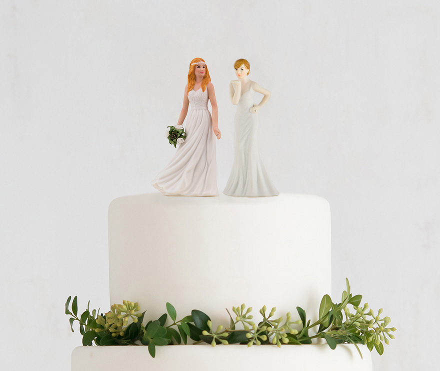 Beautiful Mix and Match Bride Cake Toppers - Same Sex Wedding Cake Toppers - Lesbian Wedding Cake Toppers | Confetti.co.uk