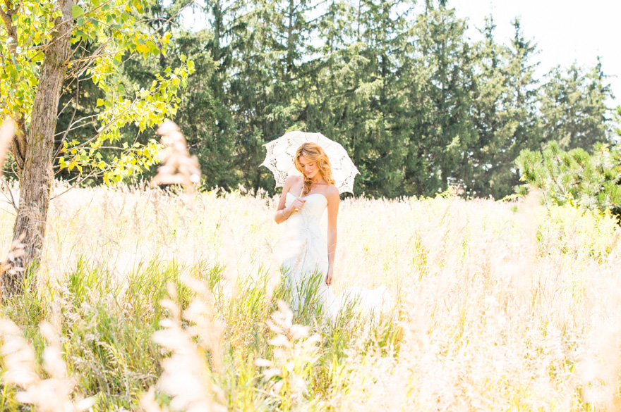 Bride in Summer Meadow - Bride with Vintage Lace Parasol - Romantic Wedding Readings From Movies | Confetti.co.uk