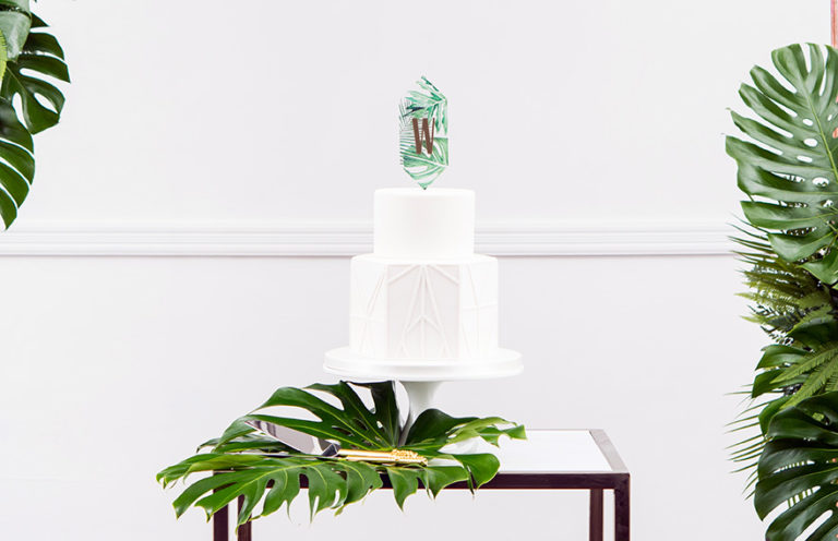 Greenery Floating Monogram Acrylic Cake Topper - Contemporary Leaves Wedding Theme - Greenery Wedding - Palm Leaves Wedding Cake Topper | Confetti.co.uk