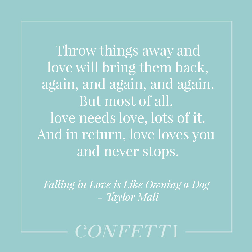 Throw things away and love will bring them back, again, and again, and again. But most of all, love needs love, lots of it. And in return, love loves you and never stops - Falling in Love is Like Owning a Dog - by Taylor Mali | Confetti.co.uk