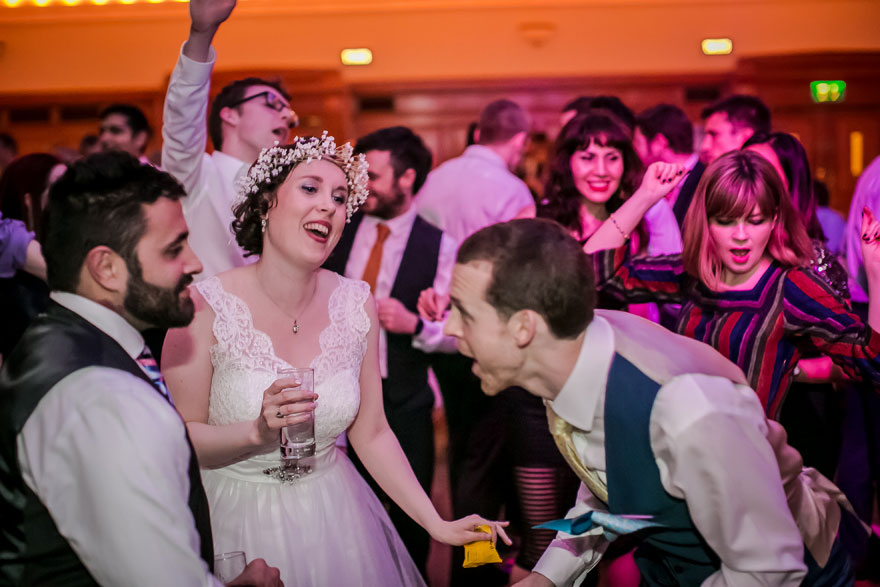 Islington Assembly Hall Wedding Reception Disco Bride and Groom Dancing | Confetti.co.uk