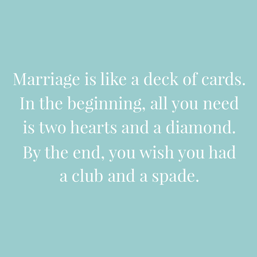 Marriage is like a deck of cards | Confetti.co.uk