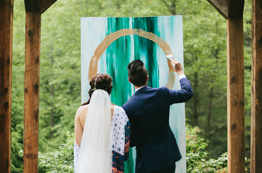 Unity Painting Wedding Ceremony - Sarah and Drew's Artsy Bohemian Mountain Wedding by MorningWild Photography
