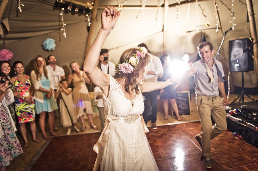 Warble Entertainment Rustic Tipi Wedding Reception with Dancing Bride and Groom | Confetti.co.uk