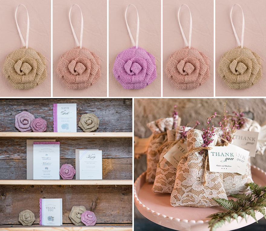 Burlap Wreath Extras Flowers and Bags - More rustic burlap DIY wedding decoration ideas with flowers and bags | Confetti.co.uk