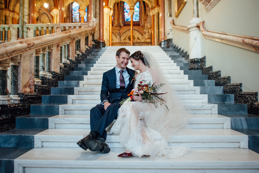 Marble Stairs at Mount Stuart – Wedding Photos by lisadevinephotography