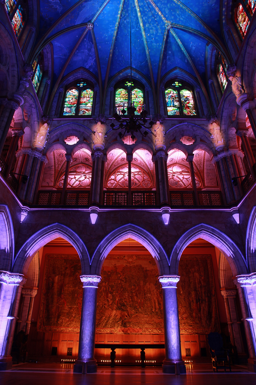 The Marble Hall at Mount Stuart Scotland Lighting by black-light