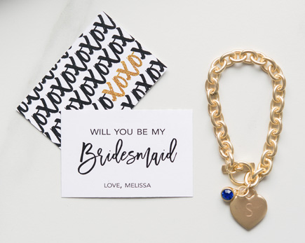 Black and Gold Sparkle Will You Be My Bridesaid Large Rectangular Tag - XOXO | Confetti.co.uk
