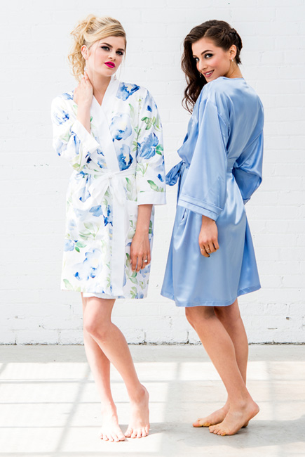 Blue Watercolour Floral Silky Kimono Robe On Blue and Periwinkle Silky Kimono Robe | Confetti.co.uk