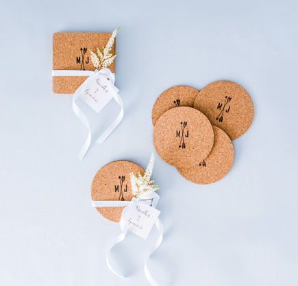Cork Coasters with Personalised Ink Stamp | Confetti.co.uk