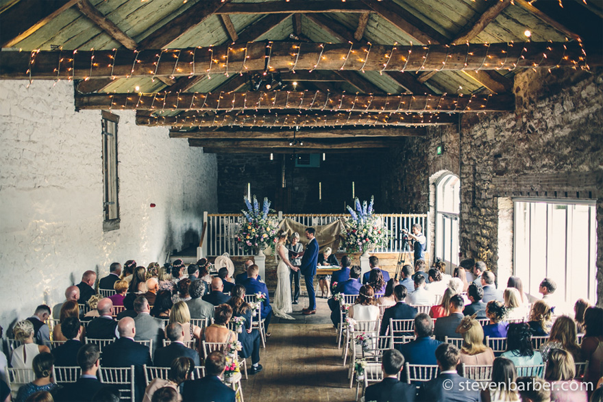 Hannah and Alex's Wedding in the Bank Barn at Askham Hall near Penrith in Cumbria by Steven Barbar Photography | Confetti.co.uk