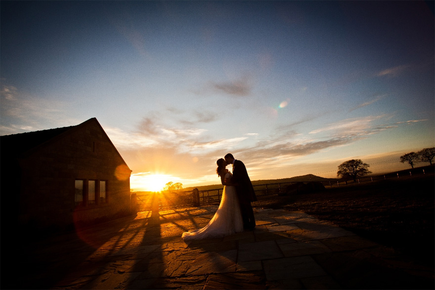 Heaton House Farm Bride Groom Sunset Wedding Photo - Selina and Mike's Wedding by Jonny Draper Photography | Confetti.co.uk