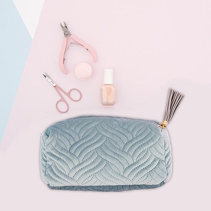 Quilted Velvet Travel Toiletry Bag - Spa Blue | Confetti.co.uk