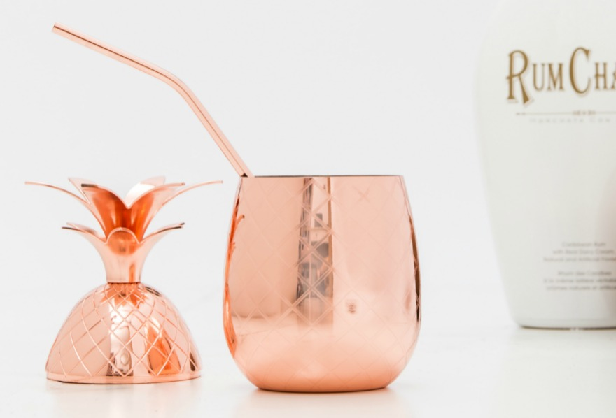 Pineapple cocktail cup in rose gold | Confetti.co.uk