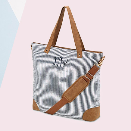 Women's Striped Tote Bag - Navy and White | Confetti.co.uk