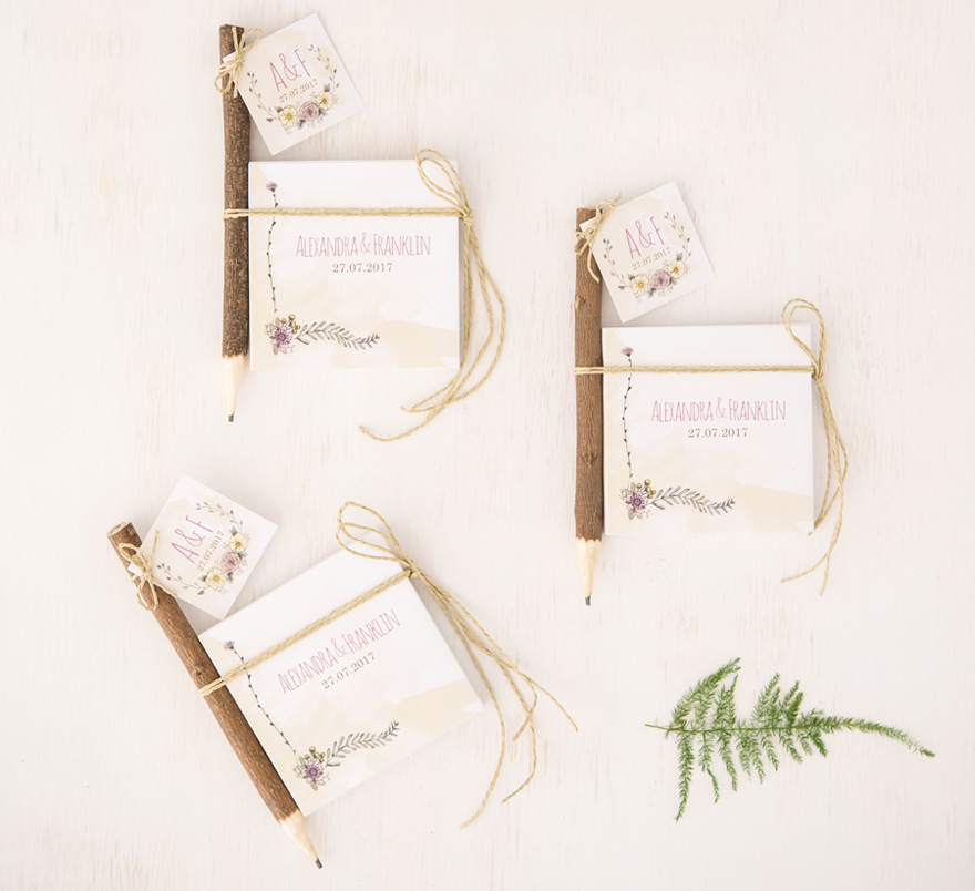 Woodland Wedding Favour Note Books and Pencils Gift | Confetti.co.uk