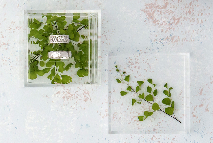 Acrylic Wedding Ring Box - Filled with Maidenhair Fern Cuttings and Silver Wedding Rings | Confetti.co.uk