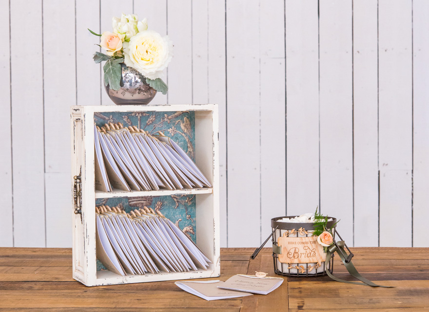 Decorative Vintage Shelf with Invitations Presentation Idea | Confetti.co.uk