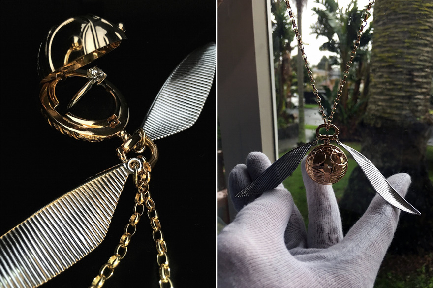 Golden Snitch Inspired Secret Engagement Ring Box and Necklace by Freeman Jewellery - Freeman Design New Zealand | Confetti.co.uk