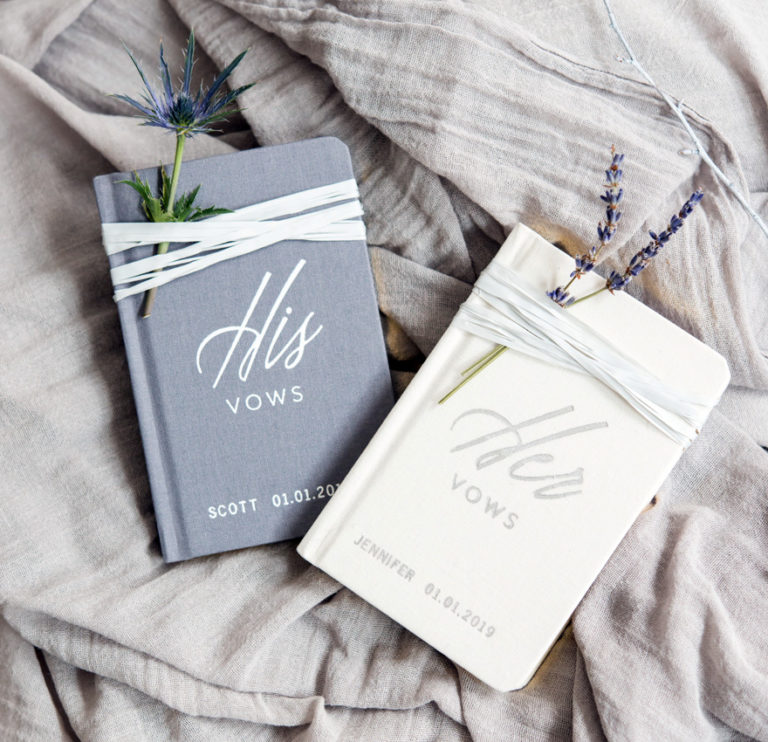 Grey and White Personalised His Vows and Her Vows Linen Pocket Note Books | Confetti.co.uk