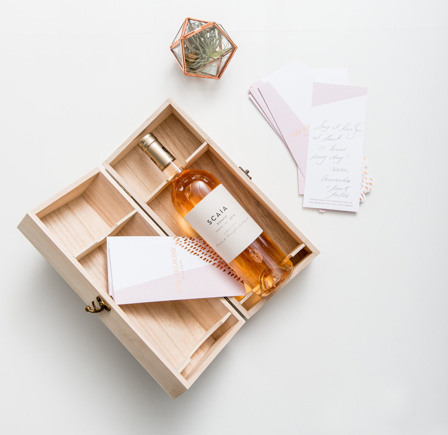 Hinged Wooden Wine Box Gift Idea | Confetti.co.uk