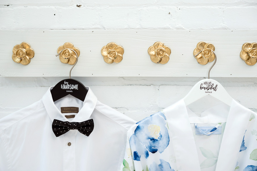 His and Hers Personalised Clothes Hangers Hey Handsome and Hello Beautiful | Confetti.co.uk