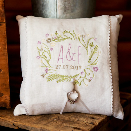 Natural Charm Simply Sweet Personalised Ring Cushion | Confetti.co.uk