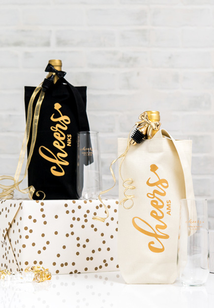 Personalised Black and Gold and White and Gold Cheers Canvas Wine Bags | Confetti.co.uk