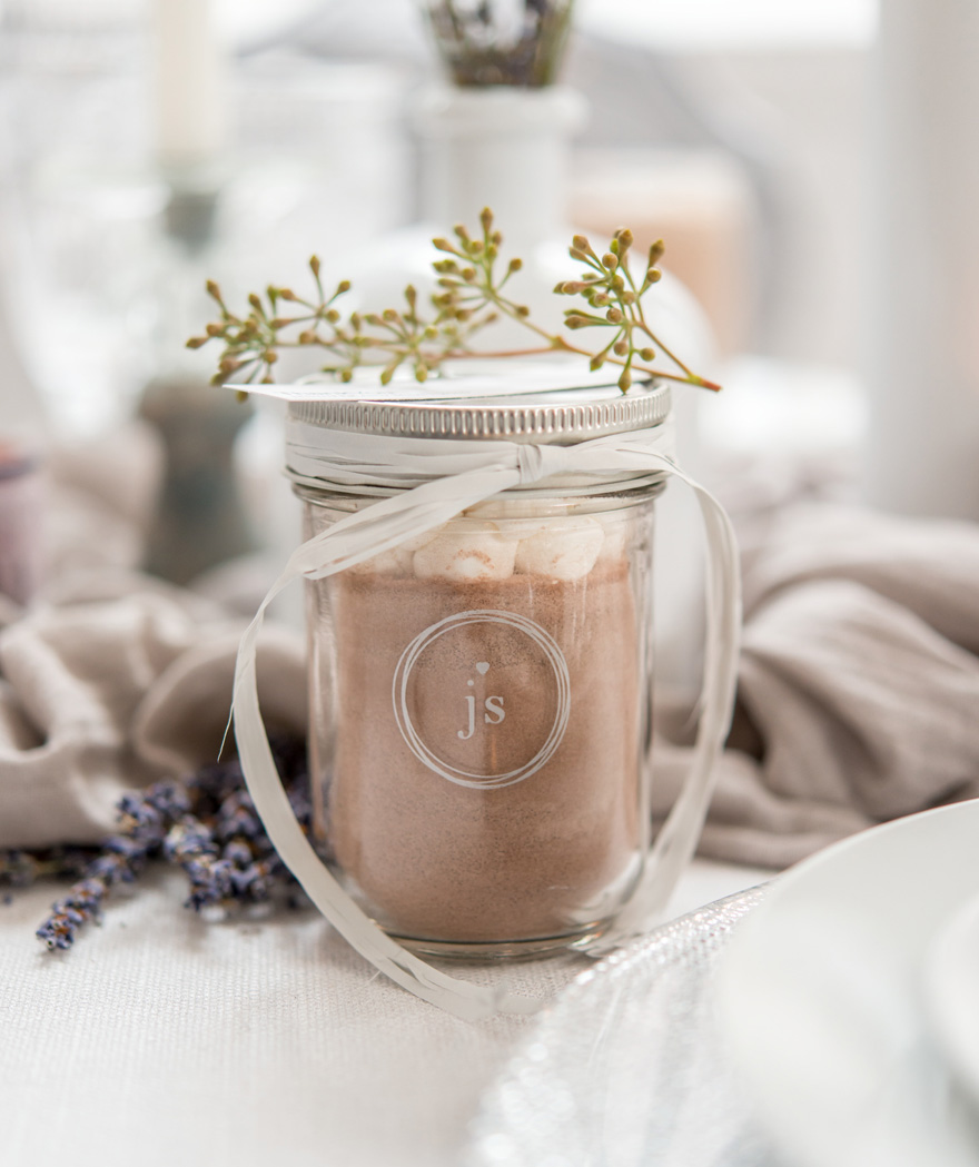 Personalised Glass Mason Jar Favour Idea With Airtight Silver Lid - Hot Chocolate and Marshmallows Wedding Favour | Confetti.co.uk