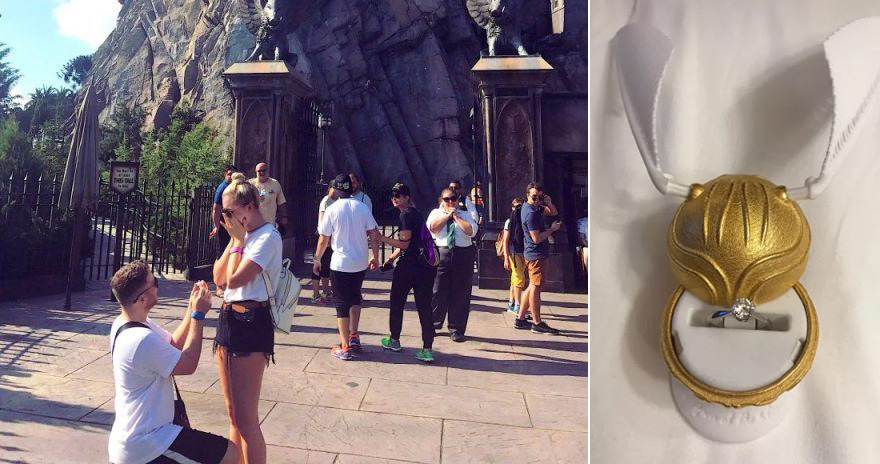 Proposal at Harry Potter World by Ryan Clarke at the Wizarding World of Harry Potter Universal Orlando Resort | Confetti.co.uk