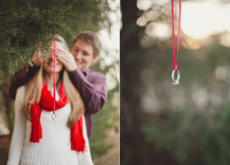 Ring Hanging from Christmas Tree - Christmas Wedding Proposal Shoot by Q Avenue Photo and Cederwood Weddings | Confetti.co.uk