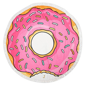 Round Beach Towel - Pink Donut with Sprinkles and Bite Taken Out | Confetti.co.uk