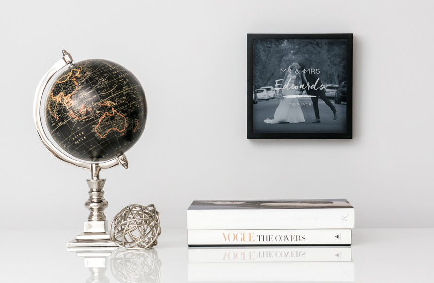 Shadow Box Photo Frame with Script Font Etching Shown With Ornamental Globe | Confetti.co.uk