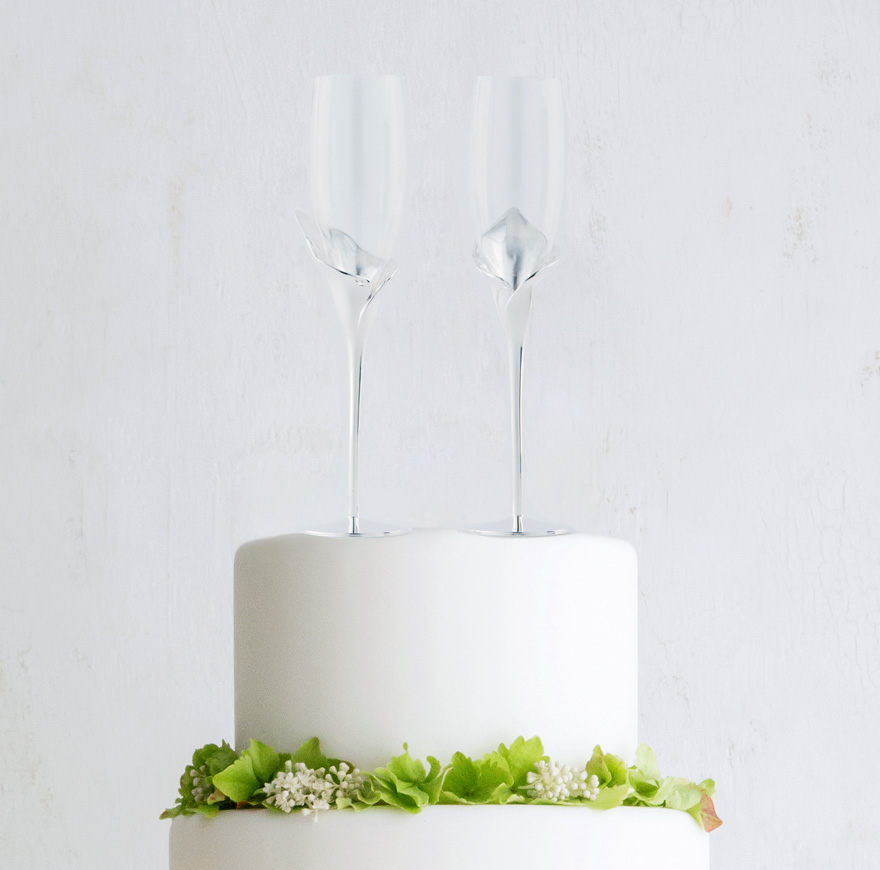 Silver Calla Lily Stemmed Wedding Champagne Glasses and Flutes | Confetti.co.uk