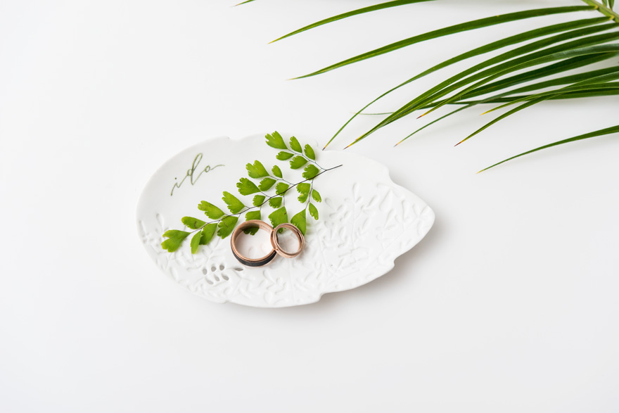 White Porcelain Leaf Ring Plate or Key Dish | Confetti.co.uk