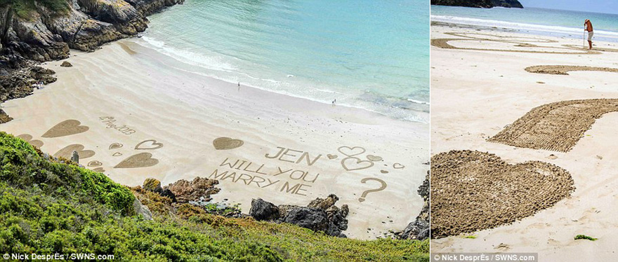 Will You Marry Me Written in the Sand Message on the Beach   Confetti.co.uk
