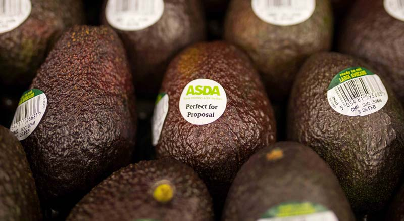 Avocados with the 'perfect for proposals' sticker