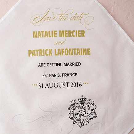 Black and Gold Parisian Save The Date Personalised Handkerchief | Confetti.co.uk