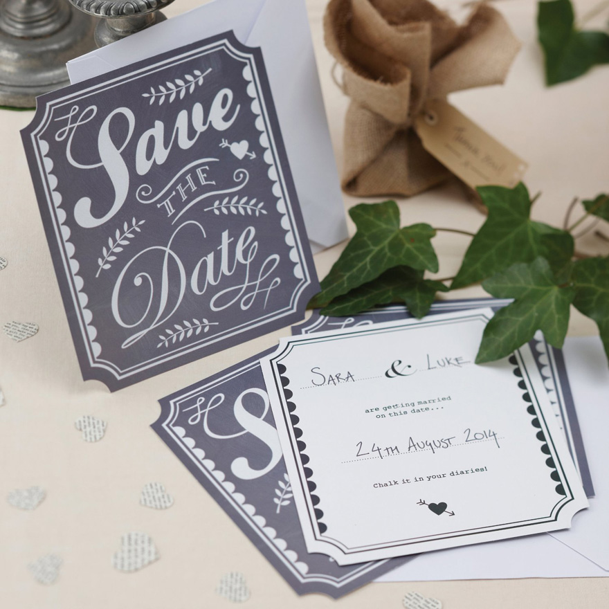 Black and White Vintage Retro Chalkboard Save The Date | Confetti.co.uk