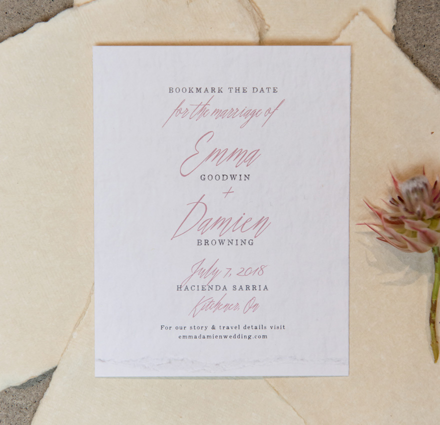 Blush Pink and White Modern Fairytale Save The Date Card with Script Text | Confetti.co.uk