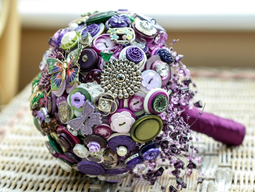 Purple butterfly button bouquet by I Heart Buttons | Confett.co.uk