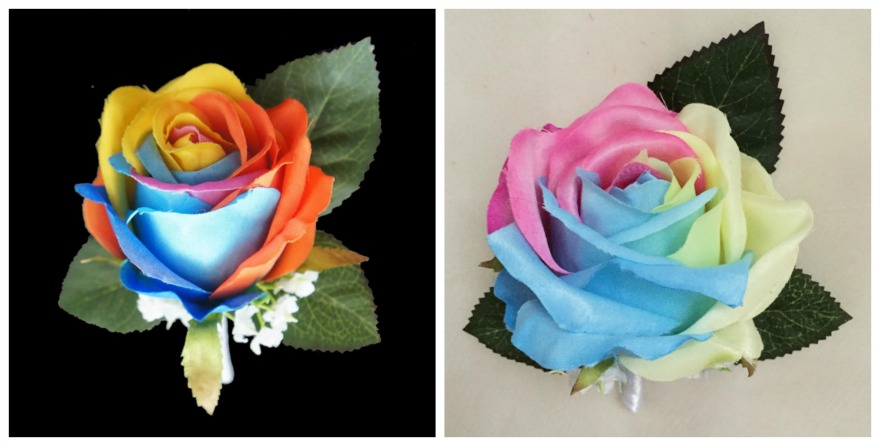 Artificial rainbow buttonholes by floralYome on Etsy | Confetti.co.uk