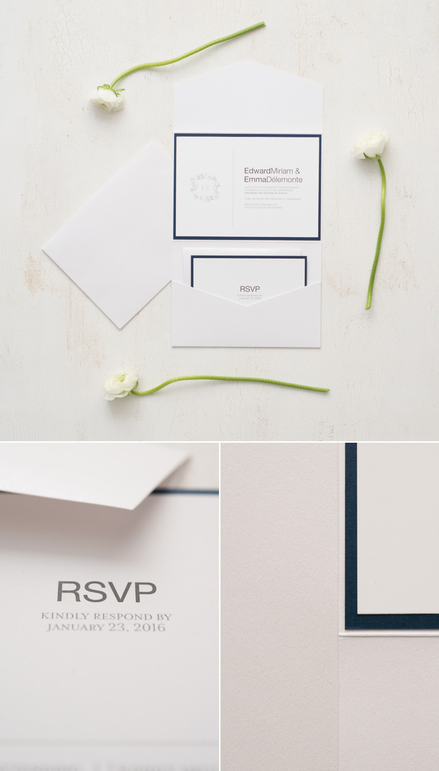 DIY Navy and White Personalised Wedding Stationery | Confetti.co.uk