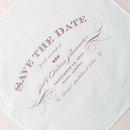 Elegant Type Save The Date Personalised Handkerchief | Confetti.co.uk
