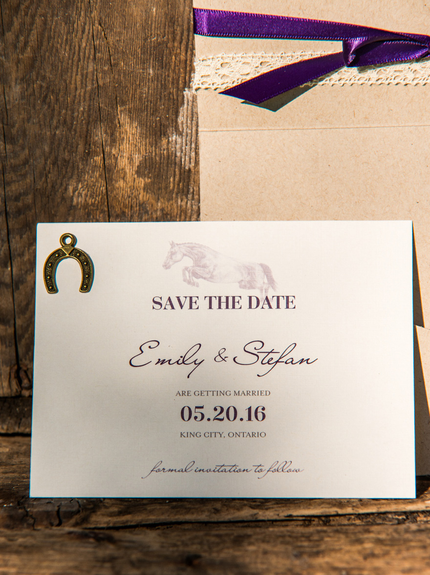 Equestrian Love Rustic Save The Date Card - Horse Themed Wedding Stationery | Confetti.co.uk