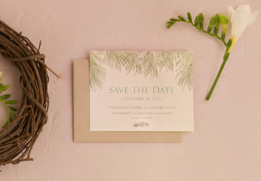 Evergreen Save The Date Card | Confetti.co.uk