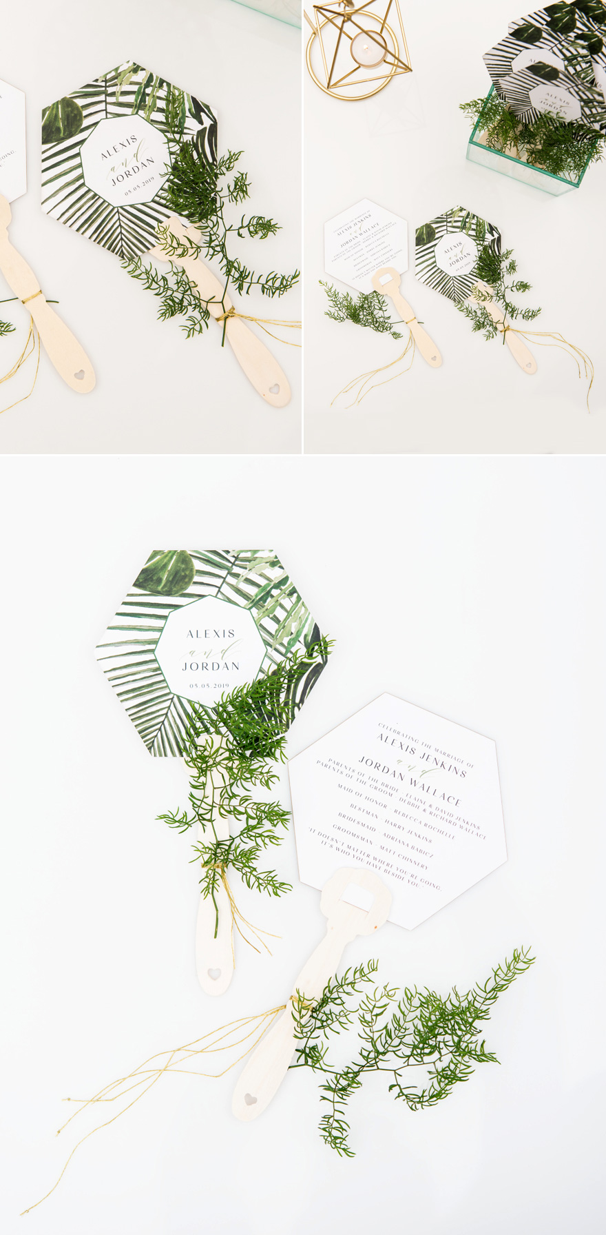 Greenery Tropical Leaf Wedding Invitation Hand Fan - Unique Wedding Invitation Ideas | Confetti.co.uk