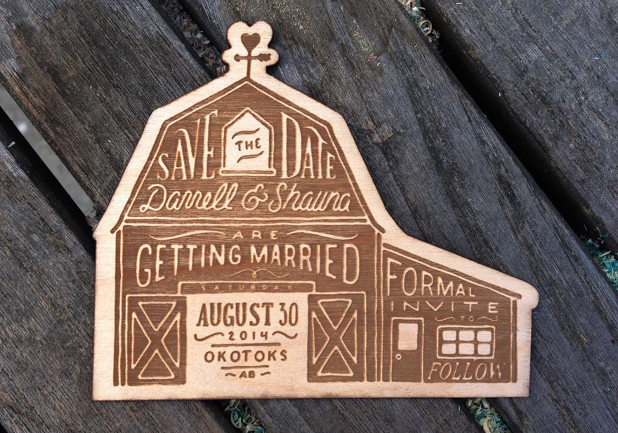 Laser Cut Wood Wedding Save the Date by Studio EQ Design Barn Wedding Stationery Alternatives - Save the Date Ideas | Confetti.co.uk