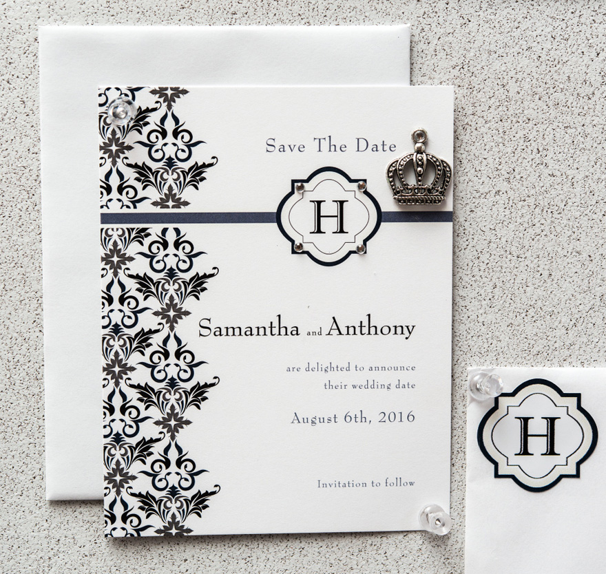 Lavish Monogram Save The Date Card with Elegant Detail | Confetti.co.uk